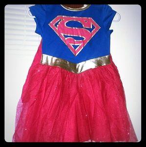 Girls SuperGirl dress w/ detachable cape - size S